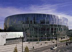 The Sprint Center in Kansas City, MO is shown from the outside.
